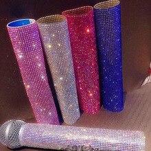 For Stage Show Singer Host Presides Microphone Sleeve Decorative Crystal Bling Bling Frame
