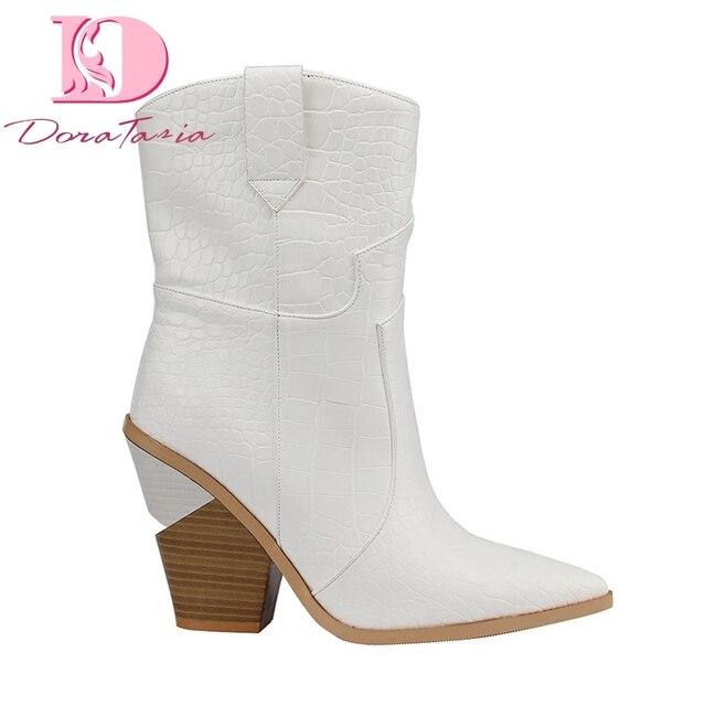 Doratasia marka wiosna zima Ins hot duży rozmiar 46 wysokie obcasy damskie buty Retro krótkie buty slip on kobieta buty zachodnie buty