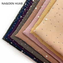 Women scarf solid plain chiffon pearls hot diamonds shawl foulard new fashion Muslim echarpe hijabs bandana 10pcs fast shipping