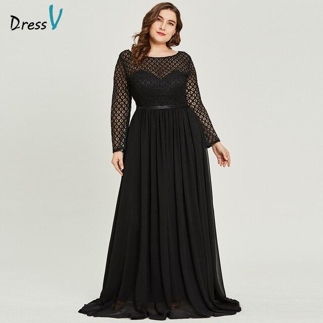 cb089cf607d9 Dressv pescoço colher preto plus size vestido de noite elegante a linha de  mangas compridas vestidos