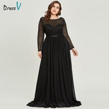 Dressv vestido de noche de talla grande con cuello redondo, manga larga, elegante