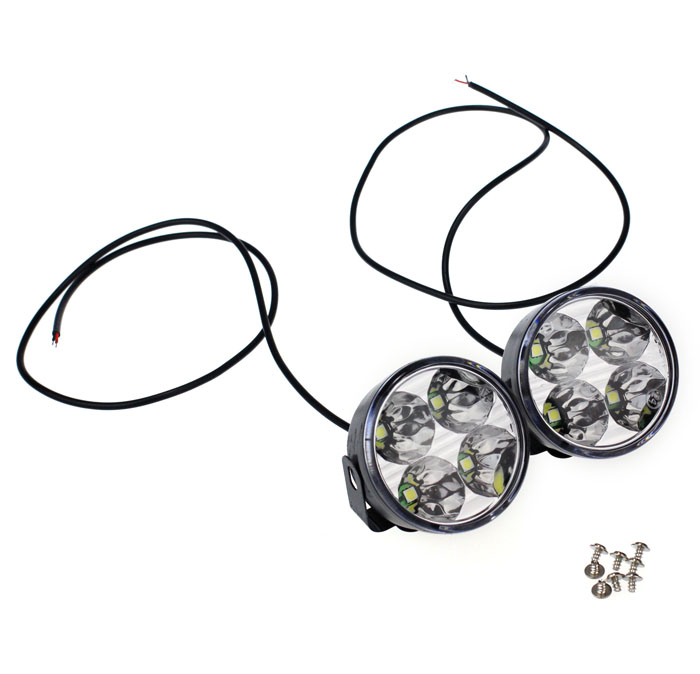 KONGYIDE Healight Bulbs 2x 4 LED Round DRL Daytime Running Driving Auto Car Fog Light Lamps NOV10