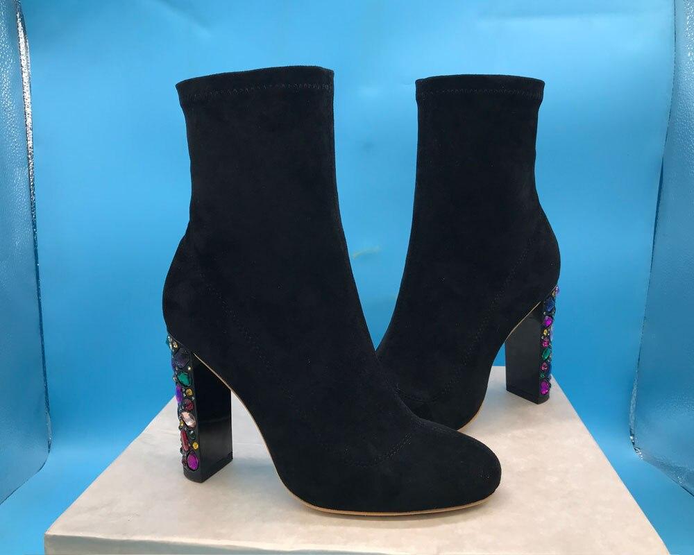 Diseño De Botas Tacón Suede Alto Coloridas Medio Talón Gamuza Corte Tobillo Black Cristal Mujeres grgxFqY