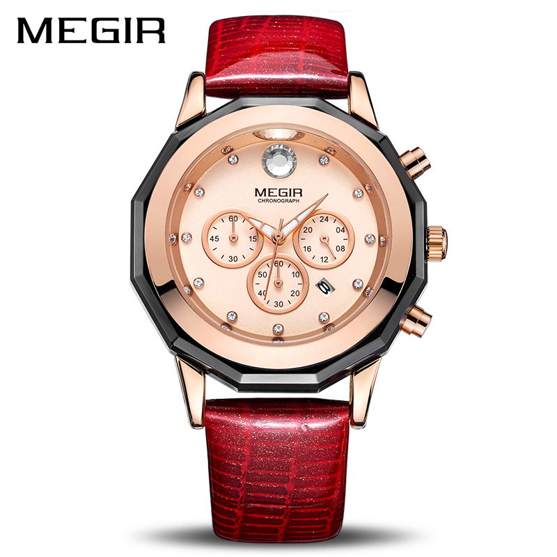 New MEGIR Women Watches Fashion Luminous Leather Quartz Ladies Wrist Watch Clock Montre Femme for Female Lovers Relogio Feminino rigardu fashion female wrist watch lovers gift silicone band creative wristwatch women ladies quartz watch relogio feminino 25