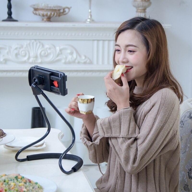 360 grados de rotación Flexible teléfono Selfie titular estantes decorativos perezoso soporte Universal de serpiente cuello cama Anti- antideslizante