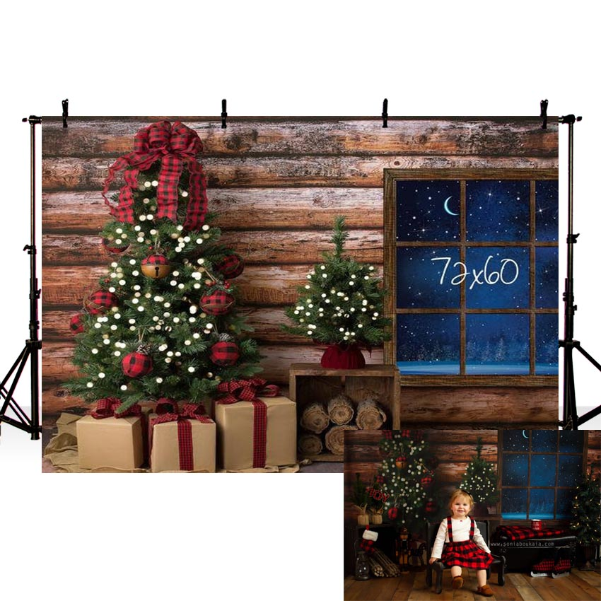 Photography Backdrop Christmas Wooden Wall Gift House Window Celebrate Photo Background Photocall Photographic Studio Photobooth