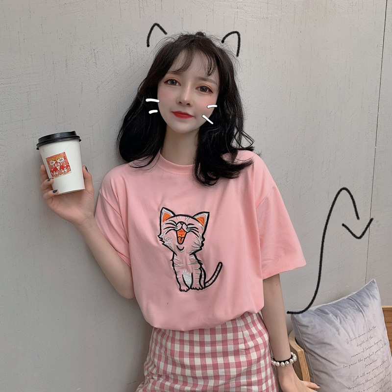 Women T shirt 2019 New Summer Casual Short Sleeves Embroidery Cartoon Cat O Neck T Shirt Students Pullover Tee Tops in T Shirts from Women 39 s Clothing
