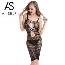 d98602e81 Anself Women Hot Erotic Lingerie Dress Babydoll Sheer Mesh Floral Lace  Spaghetti Strap Backless Sexy Sleepwear Black Night Dress