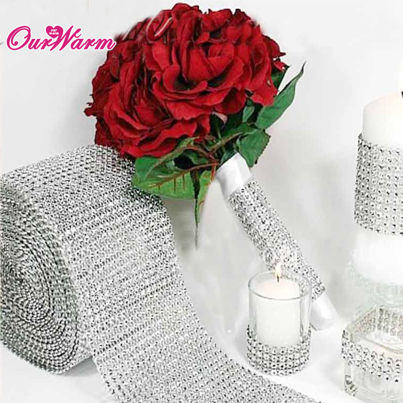 Diamond Mesh Rhinestone Ribbon Crystal 12cm width 1yard length Wedding Wrap Multi Colors
