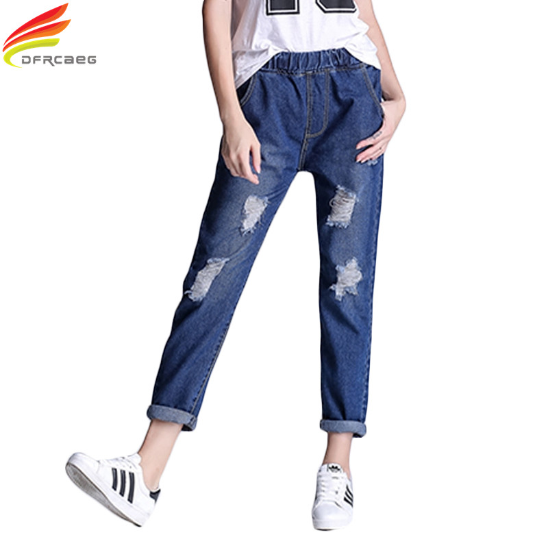 S-5 XL 2017 Spring Fashion Blue Elastic Waist Plus Size Jeans Women Vintage Hole Cotton Capris Denim Pants Boyfriend Jeans Woman lole капри lsw1349 lively capris xs blue corn