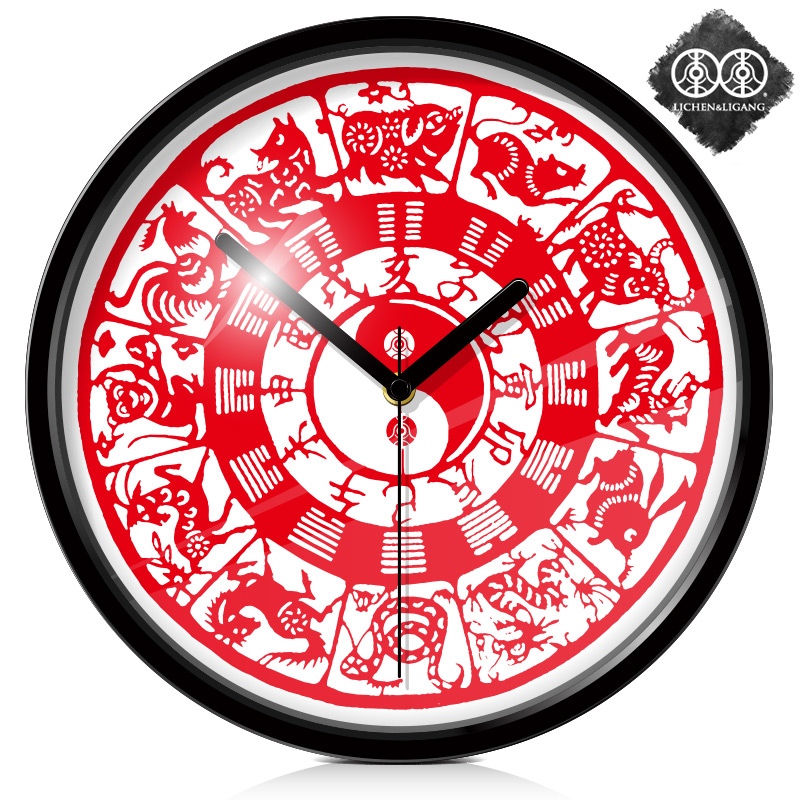 Wall Clock Paper Cutting Twelve Zodiac