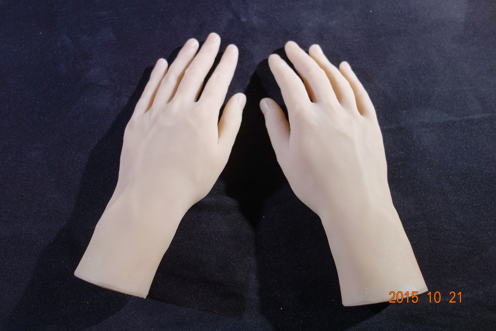 Free shipping!Solid Silicone male Hands,Sex Doll Real Skin,realistic mannequin hands,ring display news 2016 realistic 70cm 88cm 110cm half body silicone sex doll for window display