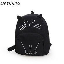 Прекрасный кот печать рюкзак женщины холст рюкзаки школьные сумки для подростков девочек Женская Повседневная милый рюкзак Bookbags Mochila