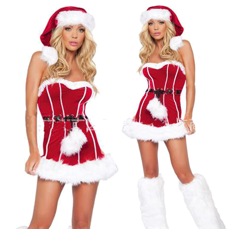 Halloween red Christmas sexy dress uniform temptation new Christmas night carnival cosplay role playing
