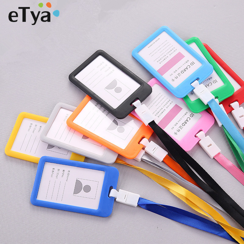 eTya ID Name Credit Card Holders For Women Men Card Bank Card Bus ID holders Candy Colors Identity Badge Neck Strap Bag yiyohi name credit card holders women men pu bank card neck strap card bus id holders candy colors identity badge with lanyard 2
