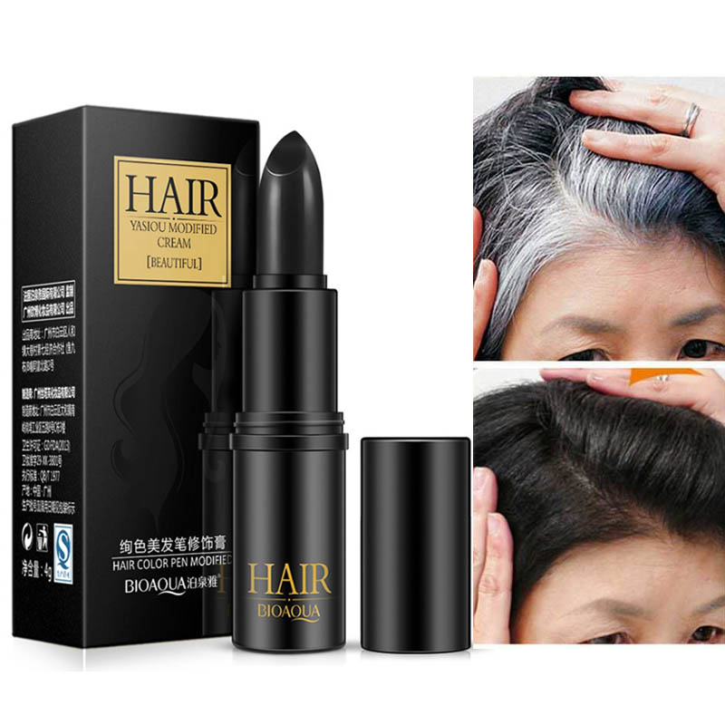 BIOAQUA Brand Hair Color Pen Cover Grey Hair Black Brown Temporary Hair Dye Cream Mild Fast One-off DIY Styling Makeup Stick