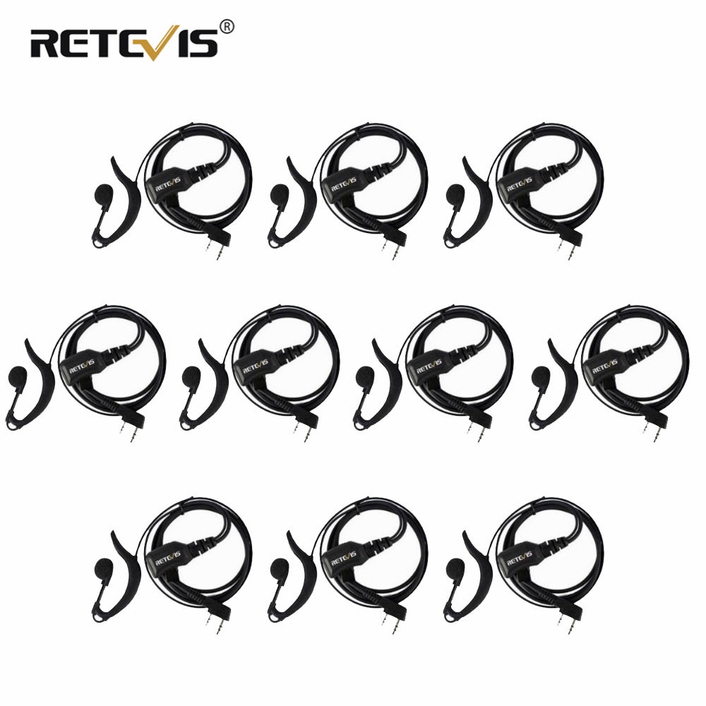 10 Pcs G Type Adjustable Volume Earphone PTT Headset Walkie Talkie Headset Accessories For Kenwood/Baofeng UV-5R/Retevis H-777