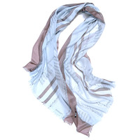 100%goat cashmere women fashion striped printed thin scarfs shawl pashmina sky blue 3color small tassel 70x200cm