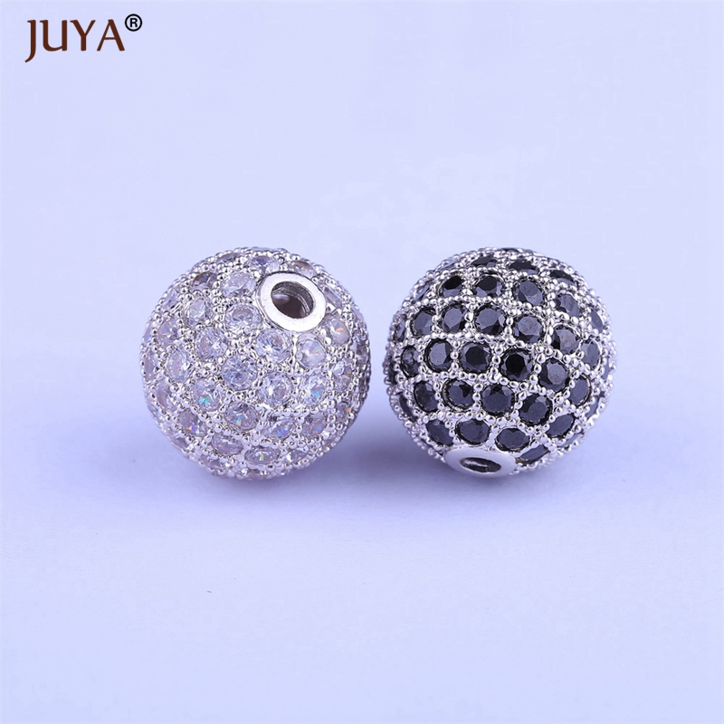 10pcs wholesale beads findings gold silver rose gold black 6mm 8mm 10mm 12mm copper zircon round ball beads for jewelry making in Beads from Jewelry Accessories