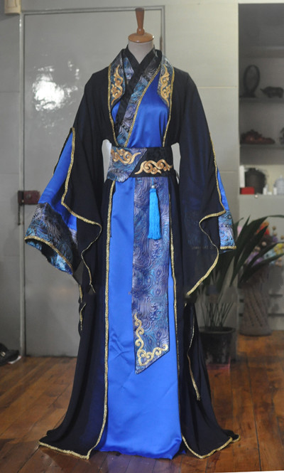 Clear Stock Black Blue Male Costume Hanfu for Stage Performance or TV Play Free shipping