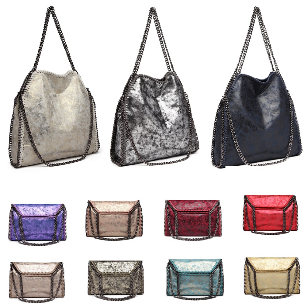 Detail Feedback Questions about Miss Lulu Women Falabellas Leather Shoulder  Bags Slouch Hobo Bag Female Chains Bolso Socialite Tote Sac A Main Handbags  ... b0269aeb332d5