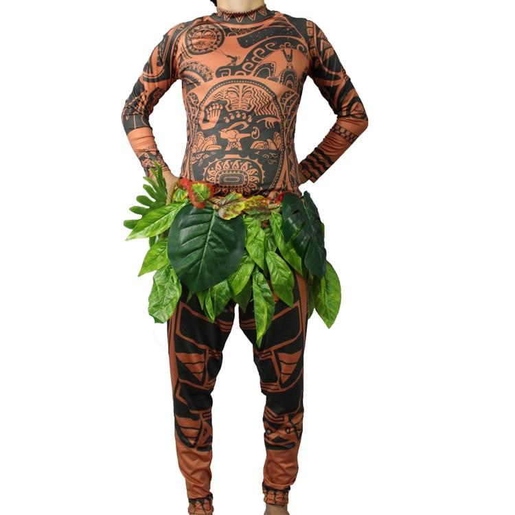 Halloween Mens Moana Maui Cotume Men T-Shirt / Pants Adult Maui tatoo Cosplay Costume any size