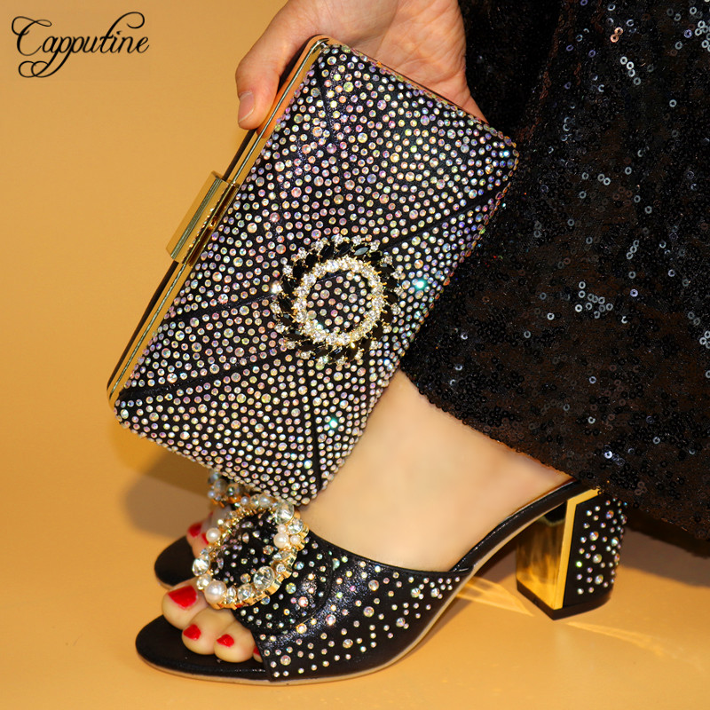 Capputine 2018 New Arrival Italian Rhinestone Pumps Shoes And Purse Set African Summer Ladies Shoes And Bag Set For Party TX-589 все цены