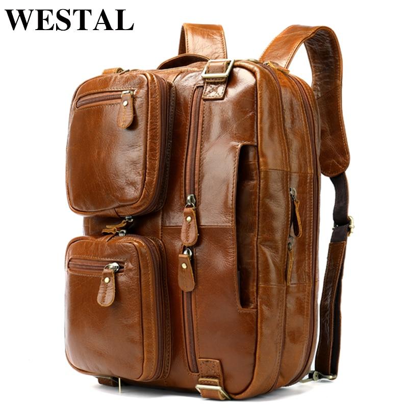 WESTAL Mulifunction Backpack Genuine Leather School Bag for Teenager Male Mochila Travel Laptop Backpack Computer Bag