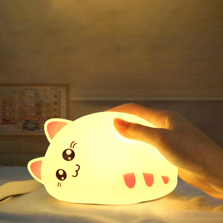 LED Night Light Cute Cat Animal Silicone Soft Cartoon Nursery Lamp Bedroom Baby Night Lamp Children Birthday Gift Toy