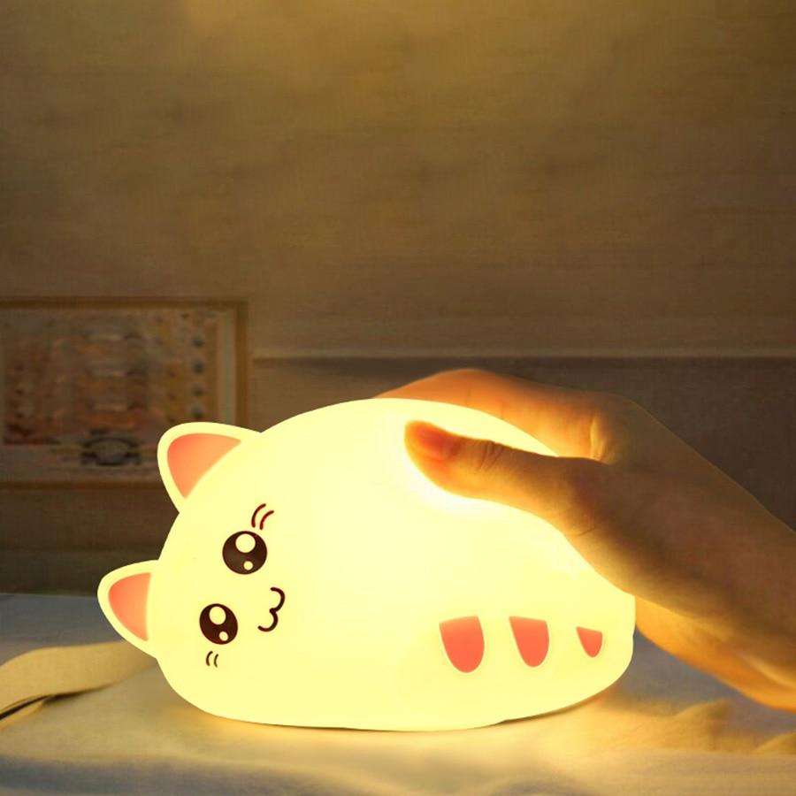LED Night Light Cute Cat Animal Silicone Soft Cartoon Nursery Lamp Bedroom Baby Night Lamp Children Birthday Gift Toy(China)