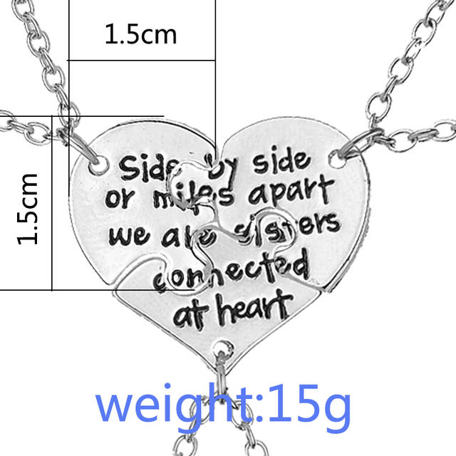 5bd53879c37b8 US $1.95 38% OFF|side by side or miles apart we are sister connected at  heart BFF Necklaces For 3 Best friend Necklace gift for sister  bestfriend-in ...