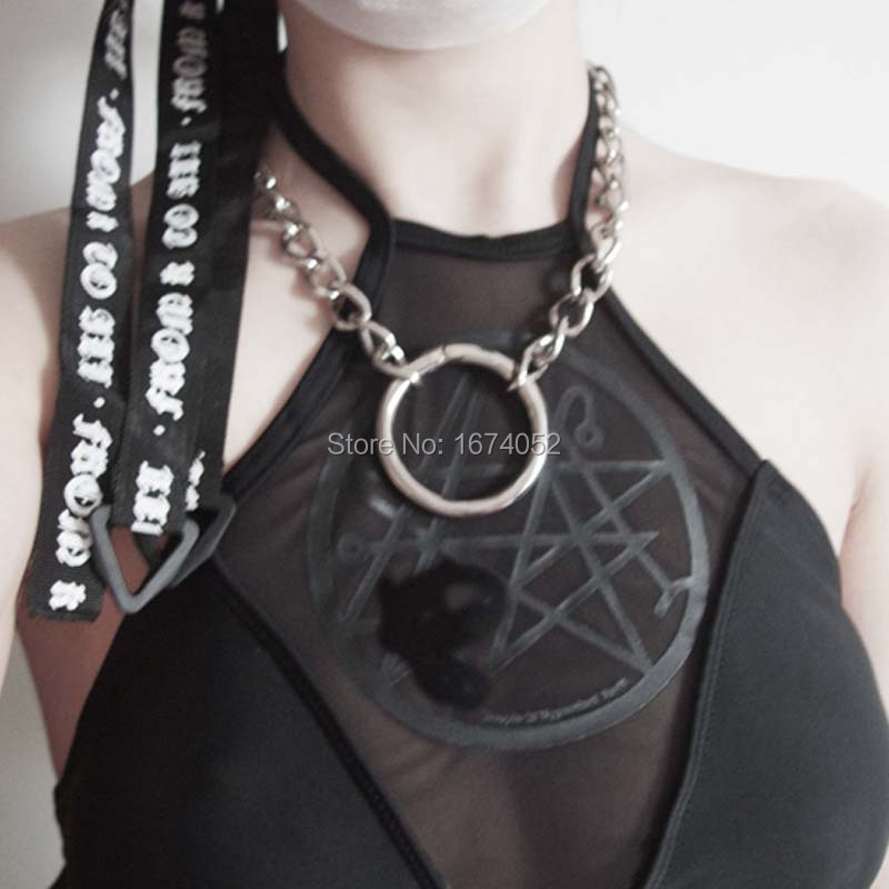 Stylish Girl Lady Punk Gothic Rock Handmade O Round Metal Link Chian Choker Collar Necklace