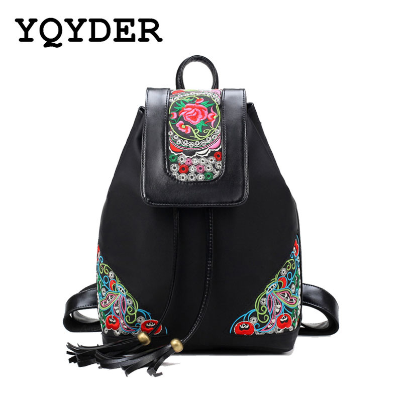 National Wind Embroidery Floral Backpack Women Pu Leather Multifunctional School Bag Waterproof Nylon Travel Backpacks Sac A Dos national wind embroidery lace paneled v neck blouse