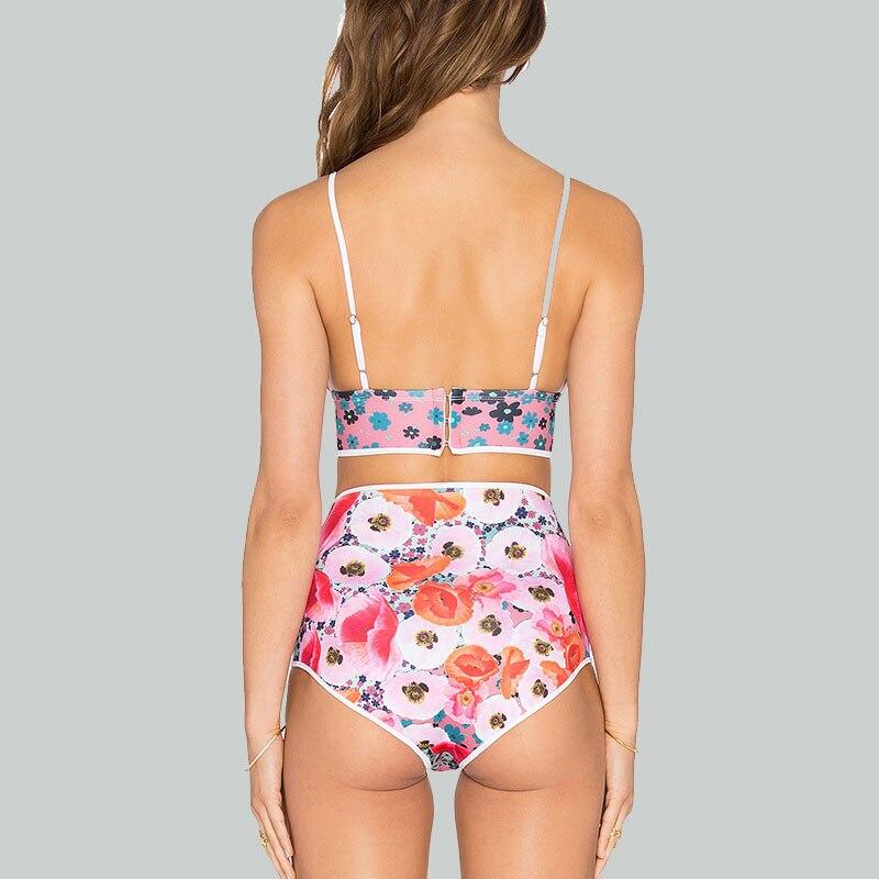 HELLO BEACH Bikini de cintura alta de las mujeres impreso traje de - Ropa deportiva y accesorios - foto 2