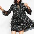 2017 Spring Floral Printed Women Chiffon Dress Drawstring Stand Collar Flared Sleeve Mini Dresses Brand vestidos robe XZWM0869