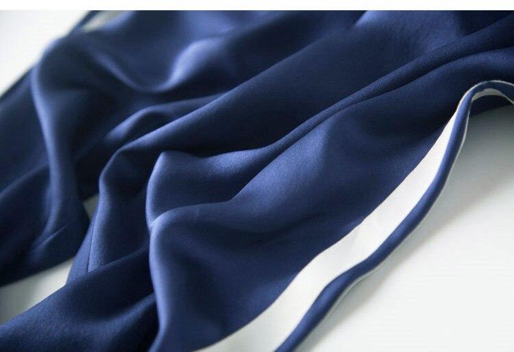 Женские брюки, 19 мм, 100%, натуральный шелк, сатин, зеленые, с высокой талией, штаны, OL, длина до середины икры, брюки, 2019, для офиса, леди, весна, ле... - 6