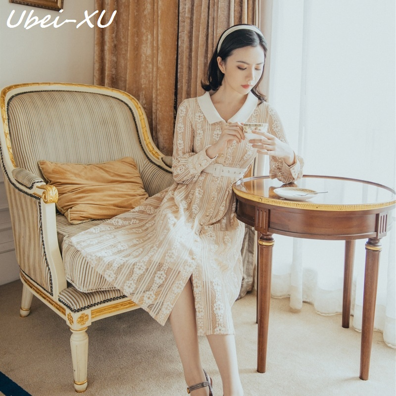 Ubei 2019 New Spring Autumn England preppy fashion long retro dress silk long sleeve cardigan high waist dress with belt in Dresses from Women 39 s Clothing