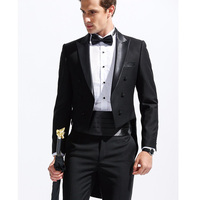 Custom Made Groomsmen Black Tailcoat Style Groom Tuxedos Peak Satin Men Suits Wedding Best Man ( Jacket+Pants+Girdle+Tie ) C252