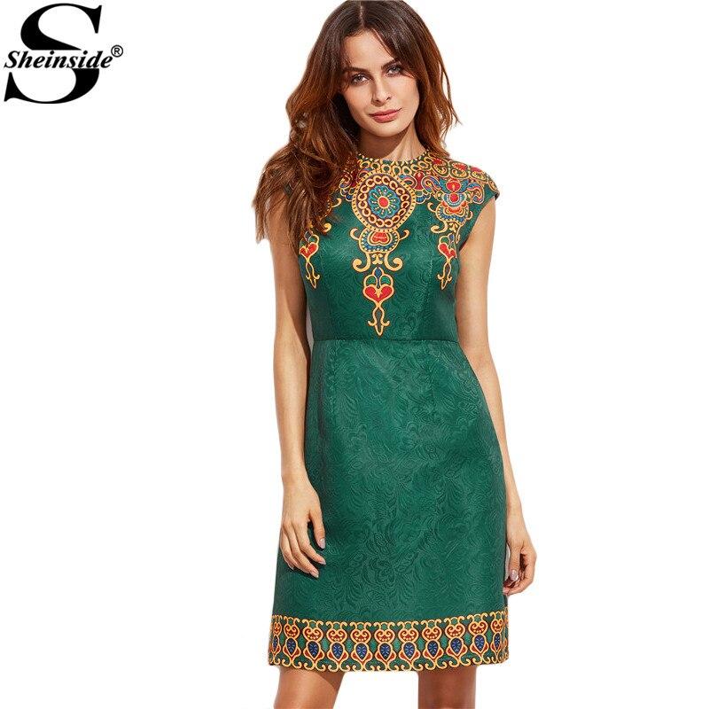 Sheinside summer vintage dress mujeres verde impresión de la manga casquillo ves