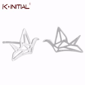 1pair New 925 Silver Hollow Paper Crane Stud Earrings For Women Peace Dove Earings Fashion Swallow Earring Jewelry Bijoux