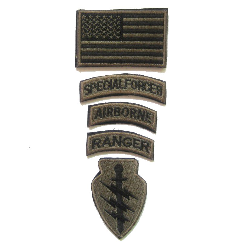5PCS/Set SPECIAL FORCES RANGER AIRBORNE Military Tactical Embroidered Patch Badge Embroidery Patch monochrome