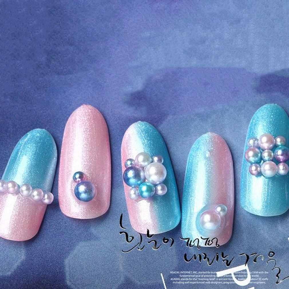 Pearl Flat Terug Magic Ontwerp Mermaid Bedels Kralen Wiel Nail Art Decoratie Sieraden Manicure