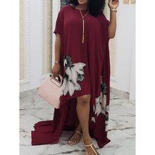 Women Plus Size Long Dress Retro Floral Print Chiffon African Ladies Summer Loose Casual Party Elegant Maxi T Shirt Dresses 2019
