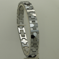 men jewelry 10mm width geometrical facet link 6 length classic hi-tech scratch proof tungsten bracelet