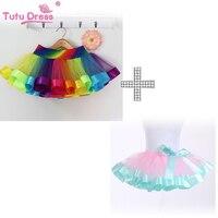 2017 Lovely Fluffy Tulle Girls Clothing Sets Tutu Skirt Pettiskirt Rainbow Girls Skirts For 2 13Y