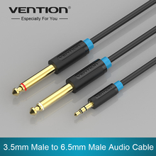 Vention Audio Cable Double 6.35mm Male 1/4″ Mono Jack to Stereo 1/8″ 3.5mm Jack Aux Cord 3.5mm to Dual 6.5mm Adapter Jack cabo