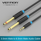 "Vention Audio Cable Double 6.35mm Male 1/4"" Mono Jack to Stereo 1/8"" 3.5mm Jack Aux Cord 3.5mm to Dual 6.5mm Adapter Jack cabo"