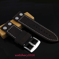 28mm Black cow heavy strap leather Watch white Stitches fit Men's military