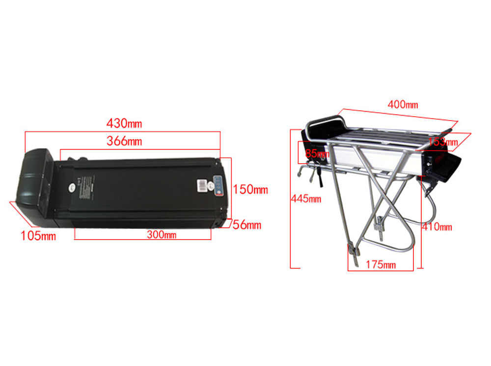36V 20AH sliver E Bike lithium battery Samsung Cell 250W 350W 500W electric cycle Battery r Luggage Rack e mountainbike