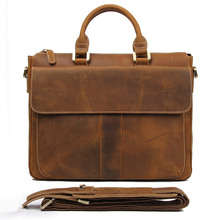 J.M.D 100% Real Crazy horse Leather Style Mens Brown Business Briefcase Classic Handbag Laptop bag Durable Office Bag 7113B-2